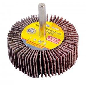 Круг шлифовальный лепестковый Р60, 60*20 мм со стержнем 6 мм (Mastertool, 08-2266)