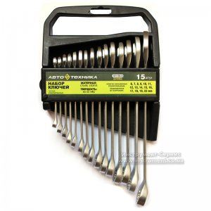 Набір ключів комбінованих 15 шт. (6-22мм) в пластиковому холдере, Автотехніка 101150-До