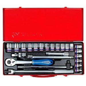 """Набор головок 1/2"""" 24 ед. 6-ти гранные, 8-32 мм, трещотка с резиновой ручкой (KING TONY, 4526MR03)"""