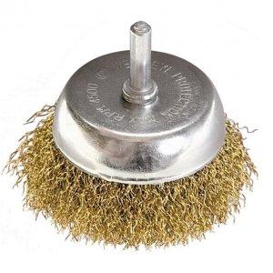 """Щетка для дрели, 50 мм, """"чашка"""" со шпилькой, латунированная витая (MTX, 744759)"""