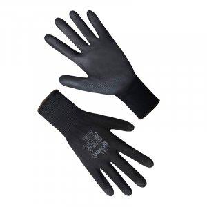Перчатки синтетические черные с черным полиуретановым покрытием 69096, Seven арт.69752