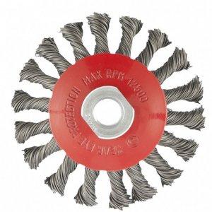 "Щетка для УШМ, 100 мм, М14, ""тарелка"", крученая проволока 0,5 мм (MTX, 746099)"