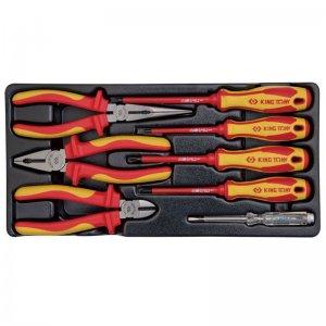 Набір діелектричного інструменту 8 предметів, в ложементі (пасатіжі, викрутки, кусачки, утконоси) KING TONY, 9-40618GP