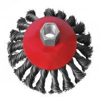 Щітка конусна 115 мм, для КШМ, М14, плетений дріт (Intertool, BT-4115)