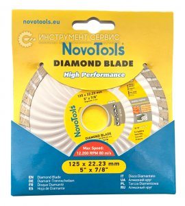 Алмазний круг NovoTools Basic 125 мм*7 мм*22,23 мм Турбохвиля (DBB125/TW)