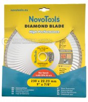 Алмазный круг NovoTools Basic 230 мм*7 мм*22,23 мм Турбоволна (DBB230/TW)