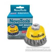 Щітка торцева 100 мм, М14, плетений дріт, сталь (NovoTools, NTWB10014ST)