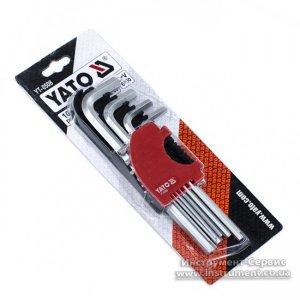 Набір Г-подібних шестигранних ключів 2,0-12 мм, 10шт. Cr-V (YATO, YT-0508)