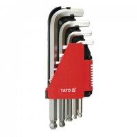 Набор Г-образных шестигранных ключей 2,0-12 мм, 10шт. с шаровым наконечником (YATO, YT-0509)