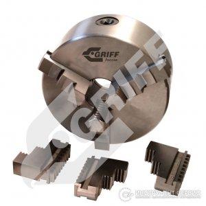 Патрон токарный 3-х кулачковый Ф 100 мм.7100-0002П на планшайбу, тип 1 (GRIFF, b208058)