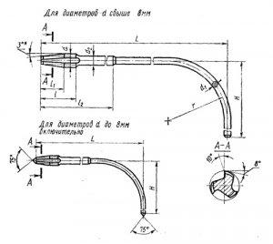 Метчик гаечный М 4 (0,7) изогнутый Р6М5 L=140