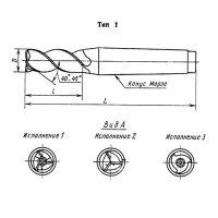 Фреза концевая к/х Ф 25 z=2 155/40 КМ3 Р6АМ5 с лыской для легких сплавов