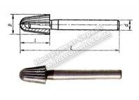 Борфреза твердосплавна конічна з заокругленим кінцем (тип L) Ф 10,0 хв.8 ВК8 60/16 (Серпухов)