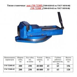 Тиски станочные ГМ 7220Н 200 мм. неповоротные (Гомель)