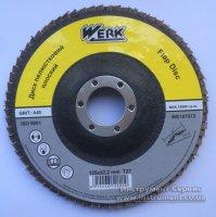 Круг шлифовальный лепестковый торцевой КЛТ 125х22 A100 T27 (Werk, WE107075)