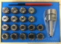 Патрон цанговый КМ2-ER32, хвостовик конус Морзе, DIN228-A, с набором цанг 18 шт (3-20мм) GRIFF, b-220413