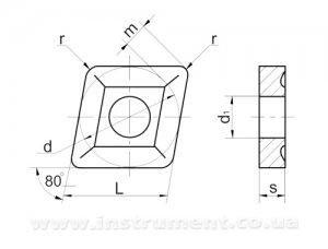 Пластина твердосплавная 05114-120408 Т5К10 (МТ2) покрытая, две канавки