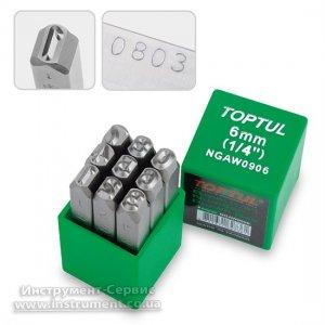 Набор клейм цифровых ударных 6 мм, 9ед. (TOPTUL, NGAW0906)