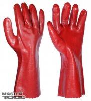 """Перчатки кислотостойкие, х/б трикотаж, полное ПВХ покрытие, манжет крага (красные) 350мм,10,5"""" Mastertool 83-0502"""