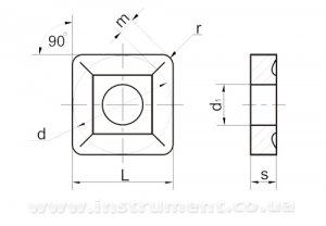 Твердосплавна пластина 03114-120408-2 Т15К6 дві канавки