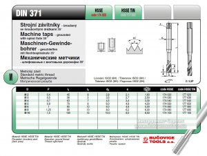 Метчик 177 100 DIN 371-C М 10 х 1,5 6H R35 HSSE INOX TIN (Bucovice tools, Чехия)