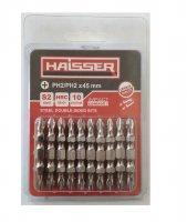 Набір біт двосторонніх PH2-РH2 45 мм, S2, 10шт (Haisser, 2712717)