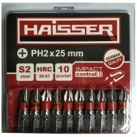 Набір біт PH2х25 мм, S2, 10шт (Haisser, 2712701)