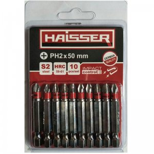 Набір біт PH2х50 мм, S2, 10шт (Haisser, 2712704)