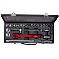 """Профессиональный набор инструмента 1/2"""", 26 ед. (гол. 8-32 мм) INTERTOOL ET-6027"""