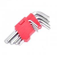 Набор Г-образных шестигранных ключей 9 шт., 1,5-10 мм, Cr-V (Intertool, HT-0601)