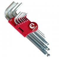 Набор Г-образных шестигранных ключей с шарообразным наконечником, 9 шт.,1,5-10 мм, Cr-V, 55 HRC Big (Intertool, HT-0603)