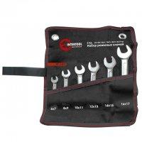 Набор рожковых ключей 6 шт. 6-17 мм Cr-V, покрытие сатин-хром; PROF DIN3113 (Intertool, XT-1101)