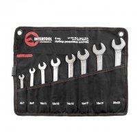 Набор рожковых ключей 8 шт. 6-22 мм Cr-V, покрытие сатин-хром; PROF DIN3113 (Intertool, XT-1102)