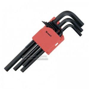 Набір шестигранних ключів 1,5-10 мм, CrV, 9 шт. подовжені, оксидовані (MTX, 112319)