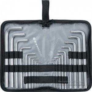 Набор ключей имбусовых HEX-TORX, 18 шт: HEX 1,5-10 мм, T10-T50, CrV, удлиненных, с сатиновым покрытием (MTX, 123159)