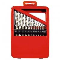 Набор сверл по металлу 19 шт., 1-10 мм (через 0,5 мм) HSS, метал.коробка (MTX, 723889)