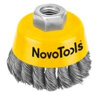 Щетка торцевая 125 мм, М14, плетеная проволока, сталь (NovoTools, NTWB12514ST)