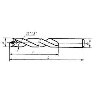 Сверло ц/х Ф 10,0 9ХС (для обработки дерева с центром ГОСТ 22053-76) Томск