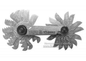 Резьбомер Д 55° для дюймовой резьбы, 28 шаблонов в диапазоне 4-62 (YATO, YT-29982)