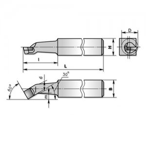 Різець розточний для наскрізних отворів 20х20х200х80 Т5К10 (ЧІЗ) 2140-0008(28)