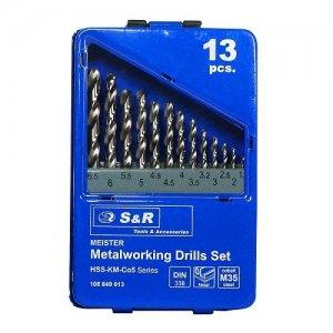 Набор сверл по металлу 13 шт. 1,5-6,5 мм S&R MEISTER Co5%