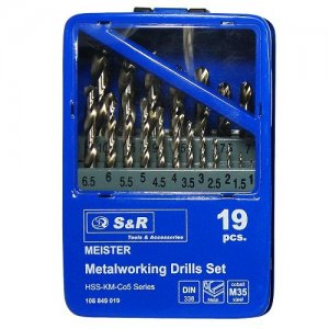 Набір свердл по металу 19 шт. 1-10 мм S&R MEISTER Co5%