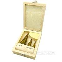 Набір свердел ступінчастих 3 шт (4-12мм, 4-20мм, 4-32мм) HSS TIN, дерев'яна коробка (IS)