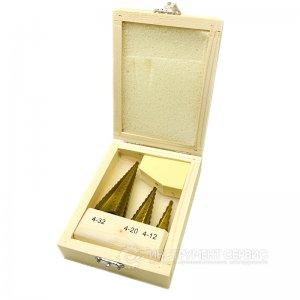 Набор сверл ступенчатых 3 шт. (4-12мм, 4-20мм, 4-32мм) HSS TIN, деревянная коробка (IS)