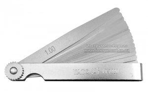 Набір щупів вимірювальних 100 х 10 мм, 17 пелюстків, h=0,02-1 мм (YATO, YT-7220)
